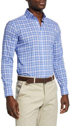 Shop Men's Coastal Chambray Plaid Sport Shirt from Peter Millar at Neiman Marcus Last Call, where you'll save as much as on designer fashions. Fitted Dress Shirts, Shirt Dress, Casual Button Down Shirts, Casual Shirts, Sports Shirts, Cashmere Sweaters, Chambray, Plaid, Man Shop