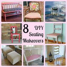 RP: 8 DIY Seating Makeovers - With links to tutorials on all of these projects! This is an excellent resource if youre planning to makeover a chair, bench, ottoman, etc. Furniture Projects, Furniture Making, Furniture Makeover, Home Projects, Diy Furniture, Painted Furniture, Diy Ottoman, Ottoman Bench, Furniture Restoration