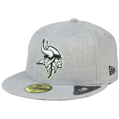 New Era Minnesota Vikings Heather Black White 59FIFTY Cap ($35) ❤ liked on Polyvore featuring men's fashion, men's accessories, men's hats, heather gray and mens caps and hats