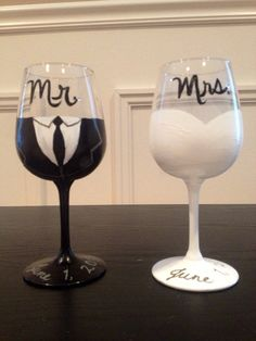 Bride and groom wine glasses by MadeByMag on Etsy, $30.00