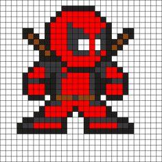 Deadpool by Tashar_h on Kandi Patterns Minecraft Pattern, Pixel Pattern, Minecraft Pixel Art, Fuse Bead Patterns, Kandi Patterns, Perler Patterns, Pixel Art Templates, Perler Bead Templates, Pixel Art Super Heros