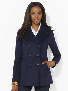 Double-Breasted Pea Coat - Outerwear   Women - RalphLauren.com Cancer Care and Prevention Giving in Style - Ralph Lauren