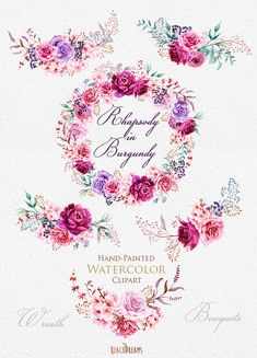Watercolor Burgundy Wreath & Bouquets with Floral elements Peonies and Roses…