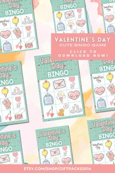 Need a fun Valentine Party Game? This Valentine Bingo Printable Game set is perfect for your Valentine´s Day Game and School Party Game. Great for all ages, these family game will have everyone smiling. Valentine Bingo, Fun Valentines Day Ideas, Valentines Games, Valentines Day Activities, Bingo Games For Kids, Printable Bingo Games, Valentine's Day Printables, Valentine's Day Party Games, School Parties