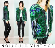 ▲ Vtg 80's 100% SILK PEACOCK feather LEAF beaded SEQUINED trophy JACKET draped | eBay
