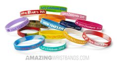 Celebrate the new year eve with custom new year bracelets from AmazingWristbands.com with your personalized New Year's resolutions and wishes message.