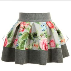 Monnalisa Bebe girls grey skirt made from soft, lightweight neoprene jersey with a smooth feel and a beautiful all over floral print. With an elastic waistband, it has a wide hem and soft pleats all around creating a full, girly shape. Baby Girl Dress Patterns, Little Dresses, Little Girl Dresses, Little Girl Fashion, Toddler Fashion, Kids Fashion, Baby Skirt, Baby Dress, Skirts For Kids