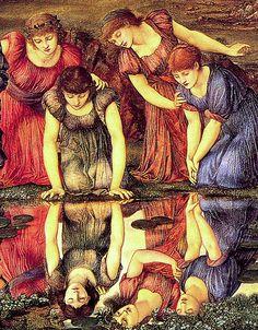 "'The Mirror of Venus'. ""O Espelho de Vênus"". (by Sir Edward Burne-Jones). John William Godward, John William Waterhouse, William Morris, Gabriel Rossetti, Pre Raphaelite Paintings, John Everett Millais, Edward Burne Jones, Pre Raphaelite Brotherhood, Narcisse"
