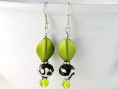 Ikat Chartreuse drop earrings - Chartreuse Sterling silver earrings - Ethnic Jewelry - Chartreuse earrings - Chartreuse Jewelry- Ikat