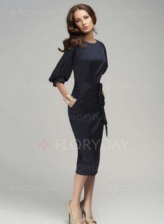 Suknia - $40.63 - Poliester Solidny 3/4 Rękawy Do Połowy Łydki Elegancki Suknia (1955101222)