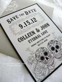 Day+of+the+dead+/+Sugar+skull+Save+the+Date++Black+gray+by+citlali,+$1.00. USA