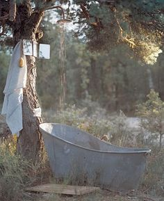A rustic country bath....