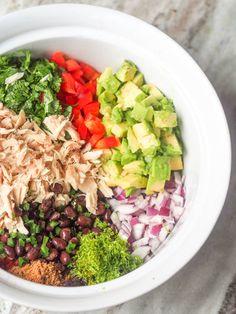 Mexican Tuna Salad with Avocado.  Skip the mayo; make tuna salad with avocado. 10 ingredients tons of flavor.