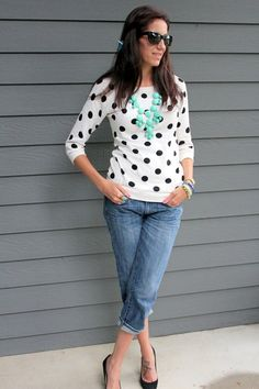 Boyfriend jeans, sunnies, polka dot sweater, and a bubble necklace