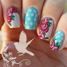 cool vintage rose with baby blue polka dot nail art ♥...