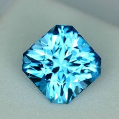 MJ2575 - 3.17ct electric blue Topaz - Brazil calibrated 8 x 6.42 mm clean, custom cut, irradiated, $85 shipped