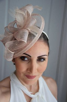 Nude Fascinator  Penny Mesh Hat Fascinator with