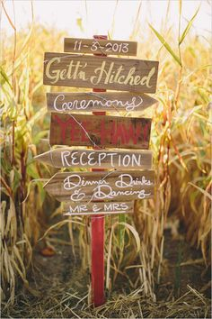 gettin hitched wedding directions sign post
