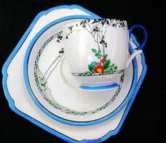 SHELLEY-LOMOND-ART-DECO-Tree-BLUE-TEA-CUP-AND-SAUCER by vicky