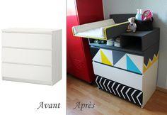 Avant après commode ikea en plan à langer #Diy #IKEA #MALM #Graphic #Lange #géométrique