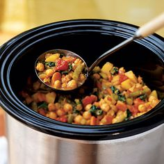 Vegetable and Chickpea Curry. Yummy and healthy recipe that you can make ahead of time in a Crock*Pot. I personally left out the potatoes and served it over Basmati Brown Rice. :-)