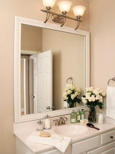 Add trim around a mirror, we need to remember this idea, it is A LOT cheaper
