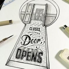 """""""Opportunity is knocking"""" by Scotty Russell #illustration #ilustracion #typo #tipografia #typograhy #opportunity #quote #cita #frase"""