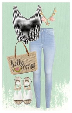 """""""Summer Set"""" by plainjanestyling on Polyvore featuring H&M and Straw Studios"""