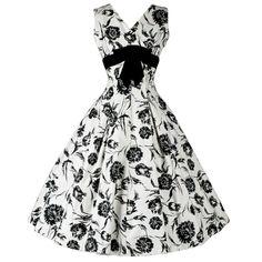 Vintage 1950's Elinor Gay Black White Cotton Floral Dress