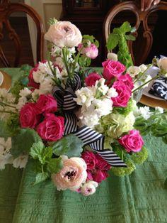 Ranunculus, Roses, Bells of Ireland