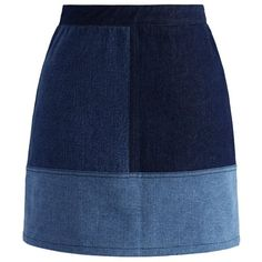 Chicwish Color Blocks Denim Bud Skirt (£29) ❤ liked on Polyvore featuring skirts, bottoms, blue, blue skirt, blue denim skirt, knee length denim skirt, denim skirt and colorblock skirt