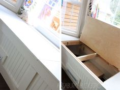 DIY instructions (guidelines) for a window seat/bench with storage! Perfect for our breakfast nook!