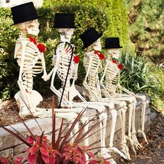 Outdoor Skeleton Crew. Gather a group of skeletons to act as spooky yard greeters. Perch the gang on a bench or ledge, and add top hats and bow ties. These guys are sure to create a bone-chilling Halloween.