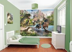 If you've been longing to make a statement in your home, you will be pleased to know that there are loads of gorgeous wall mural ideas to choose from....   Dinosaur Wall Mural #WallMurals #WallDecor #Murals #WallMuralIdeas #WallMural #Mural Dinosaur Land, Boys Bedroom Decor, Room Themes, Thinking Outside The Box, Creative Design, Wall Murals, Wooden Flooring, Bunk Beds, Wall Decor