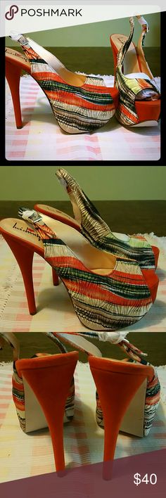 """Slingback Shoes Multiple Color Shoes. The orange 4"""" heel really defines the beauty of this shoe. Shoes Heels"""