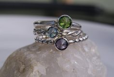 Sterling silver gemstone stacking rings with birthstone set of three (3) mommy ring mothers day. $125.00, via Etsy.