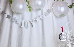 Image of Glitter hollow star banner