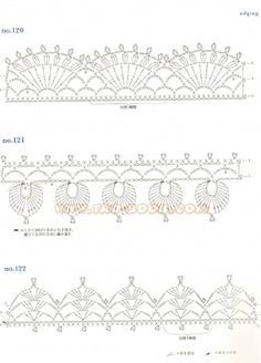 Crochet and arts: Ondori motif edging designs 2 Crochet Border Patterns, Crochet Lace Edging, Crochet Motifs, Crochet Diagram, Crochet Chart, Lace Patterns, Crochet Trim, Filet Crochet, Irish Crochet