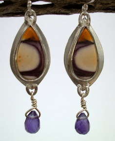 Earrings  Sterling Silver  Mookaite Jasper and by rmddesigns,