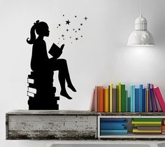 Girl Reading Books Magic  Wall Decal Vinyl Art by danadecals