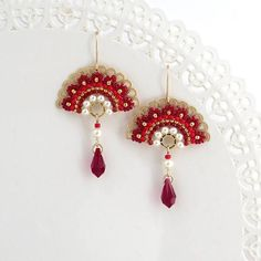 Red drop earrings, Unique earrings, Red dangle earrings, Fan earrings, Crystal dangle earrings, Crystal and pearl earrings, Unusual earrings I created this earrings by hand, using gold plated brass castings, Swarovski 3-5mm pearls, Swarovski drop, Miyuki round seed beads and goldfilled