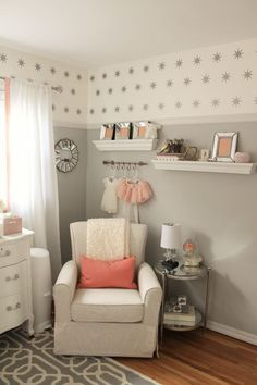 and white: peach and gray nursery reveal peach baby nursery, girl nursery decor Girls Bedroom, Baby Bedroom, Baby Room Decor, Nursery Room, Peach Nursery, Nursery Ideas, Baby Rooms, Project Nursery, Nursery Inspiration