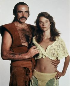 """Sean Connery with Charlotte Rampling in a promotional image from the film """"Zardoz"""", directed in 1974 by John Boorman. Charlotte Rampling, Harold Lloyd, Deborah Kerr, Jennifer Jones, Andy Garcia, George Carlin, Anthony Hopkins, Fred Astaire, Sean Connery"""