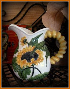 Handpainted Pitcher of Sunflowers by BajaGypsy on Etsy
