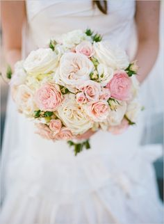 A pretty bridal bouquet of ivory, peach and pink...|Wedding dresses,cakes,bouquets,themes etc