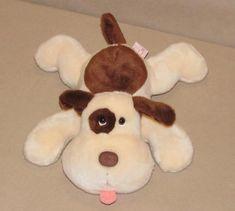 Russ Cream Brown Puppy Dog Laying Down Plush Beanbag Toy Eye Spot Tongue 62014 #Russ