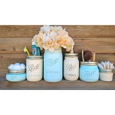 Bathroom Set,Bath Set,Mason Jar,Bathroom Accessories,Shabby Chic... ($40) ❤ liked on Polyvore featuring home, bed & bath, bath, bath accessories, pink flamingo bathroom accessories, white bathroom accessories, blue bathroom accessories, white toothbrush holder and blue soap dispenser