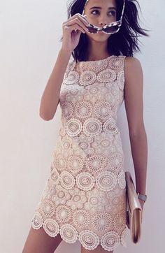 Eliza J Crochet Sleeveless Shift Dress (Regular & Petite) | Nordstrom