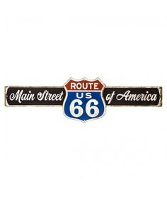 Main Street Route 66 Embossed Die Cut Tin Sign