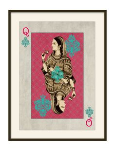 """Mughal Queen Playing-Card 26"""" x 12"""" $100"""